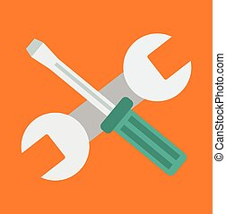 Vector wrench and screwdriver flat icon