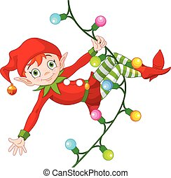 Christmas Elf on Garland - Illustration of cute Christmas...