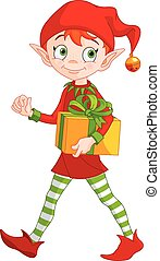 Christmas Elf - Illustration of cute Christmas elf holds...