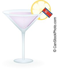 North Korea Cocktail - Cocktail with a flag of North Korea