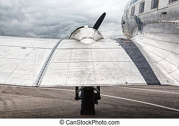 wing and engine old transport aircraft of World War II
