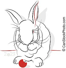 Chinese Calligraphy Rabbit 2023