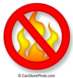 No Fire - Anti Fire Symbol over White Background...
