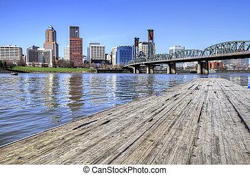 Portland Skyline from the Docks - Portland Oregon Downtown...