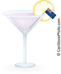 New Zealand Cocktail - Cocktail with a flag of New Zealand