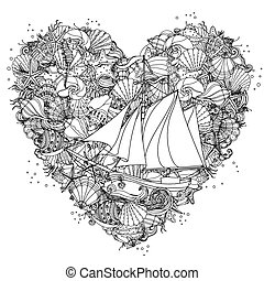 Hand drawing zentangle element Black and white - Heart shape...
