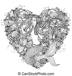 Hand drawing zentangle element Black and white - Beautiful...