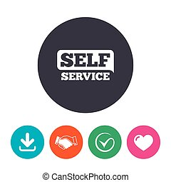 Self service sign icon. Maintenance button. Download arrow,...