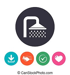 Shower sign icon Douche with water drops symbol Download...