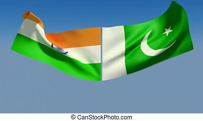 Loopable India and Pakistan Flags Alpha channel is included