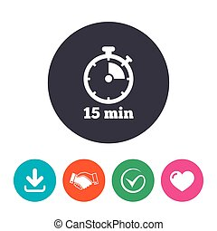 Timer sign icon. 15 minutes stopwatch symbol. Download...