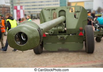 Cannon gun barrel - Foreground of Cannon gun barrel on the...