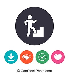 Upstairs icon Human walking on ladder sign Download arrow,...