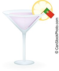 Portugal Cocktail - Cocktail with a flag of Portugal.