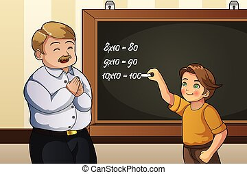 Student Solving Math Problem in Class - A vector...