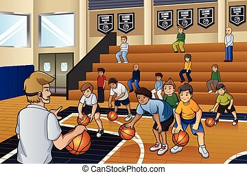 Kids Practicing Basketball - A vector illustration of kids...