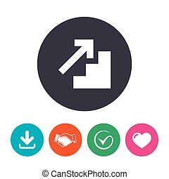 Upstairs icon. Up arrow sign. Download arrow, handshake,...
