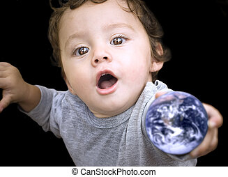 Earth child - Our planet Earth in the hands of a child with...