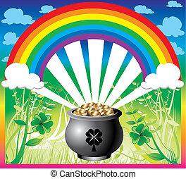 St Patricks Day Rainbow - Vector Illustration of pot of gold...