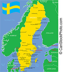 Sweden map with major cities