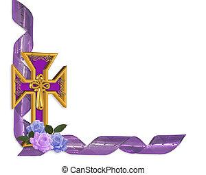 Páscoa, crucifixos, borda, Ilustração