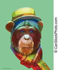 Chimpanzee polygonal illustration. Vector eps 10 - Portrait...