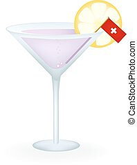 Swiss Cocktail - Cocktail with a flag of Switzerland.