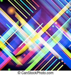 Digitally generated image of colorful light and stripes...