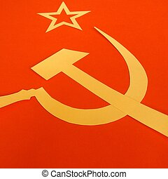 CCCP Flag - Communist CCCP Flag with hammer and sickle,...