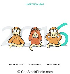 Three wise monkeys and New Year's inscription 2016