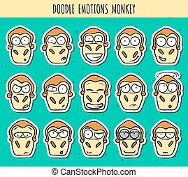 Set 15 doodle sticker heads of monkeys with different...