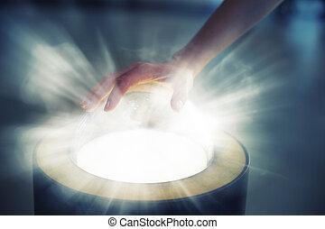 Pushing futuristic glass button - Women hand pushing...
