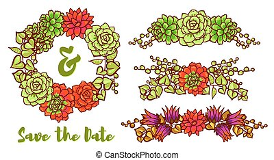 Vector Succulent Wreath - Vintage Wedding wreath of...