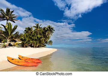 Beautiful tropical beach at exotic island in Pacific - Two...