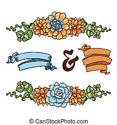 Vector Decorative floral element of succulents for...