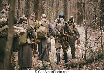 Group of unidentified re-enactors dressed as Russian Soviet...