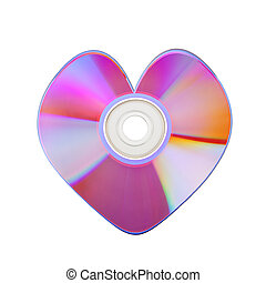 Close-up of colorful CD heart isolated on white baclground