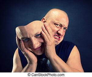 Facial mask - Man taking off his happy facial mask
