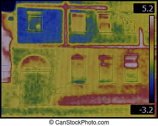 Facade Infrared - Thermal Image of the House Facade