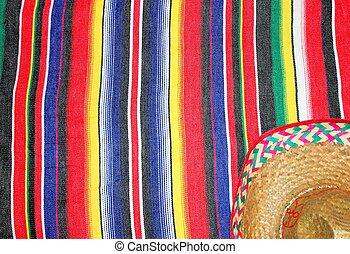 Mexico traditional cinco de mayo rug poncho fiesta with stripes