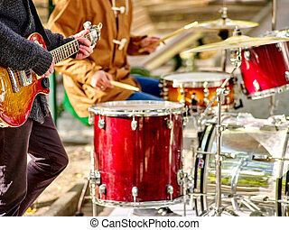 Performance of street musicians - Music street performers on...