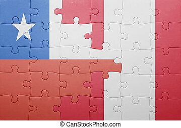 puzzle with the national flag of peru and chile .concept