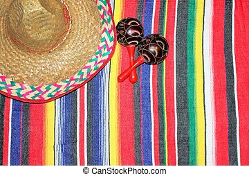 Mexico maracas poncho sombrero cinco de mayo fiesta
