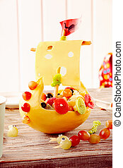 Decorative viking ship made of food - Decorative viking ship...