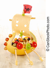Creative food viking ship for a kids party made with fresh...