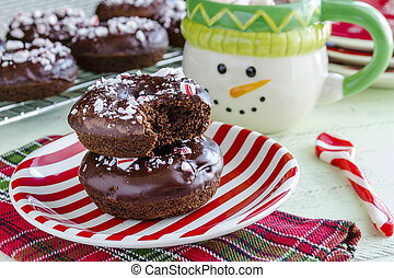 Double Chocolate Peppermint Iced Donuts - Christmas...