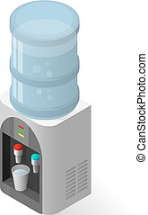 Realistic icon for water cooler with blue full bottle and cup.