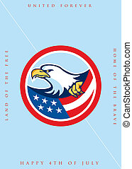Independence Day Greeting Card-American Bald Eagle Clutching Flag