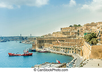 view on Valletta from the sea in Malta