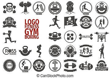Fitnes GYM boxing logo - Big gym, fitness, cross and boxing...